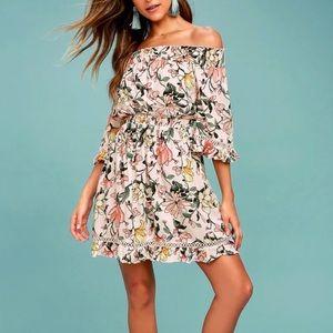 Lulus Pink Floral Print Off-the-Shoulder Dress